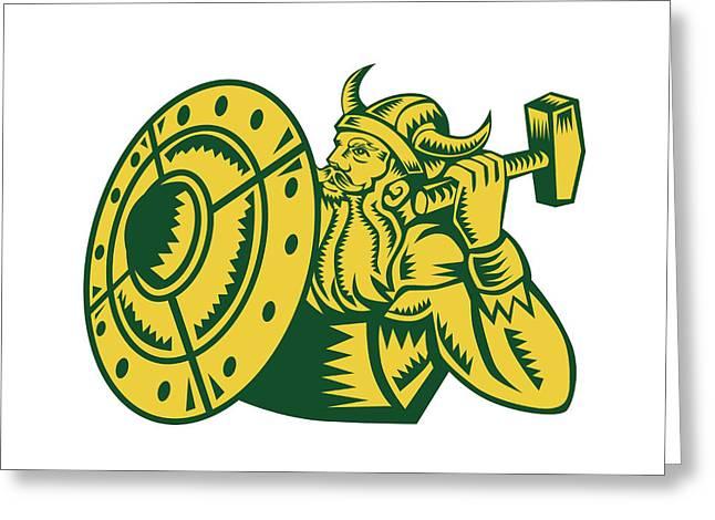 Viking Warrior Hammer Shield Woodcut Greeting Card by Aloysius Patrimonio