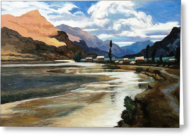 Sacred Paintings Greeting Cards - Vilcanta River Greeting Card by Oscar Cuadros