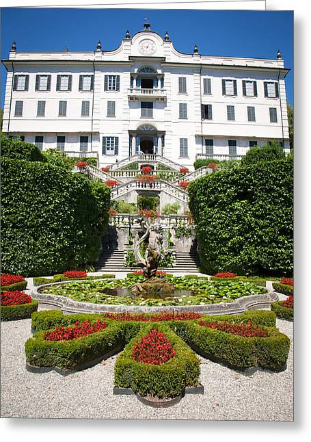 Residential Structure Greeting Cards - Villa Carlotta at Lake Como Greeting Card by Marco Scisetti