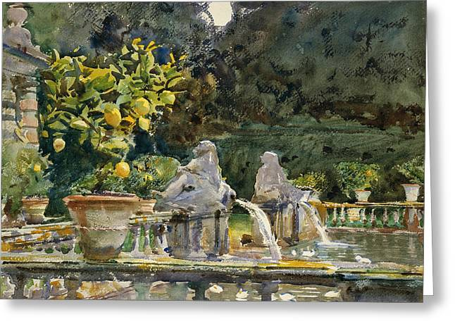 Italian Landscape Greeting Cards - Villa di Marlia Lucca A Fountain Greeting Card by John Singer Sargent