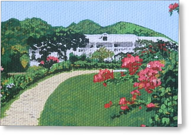St Margaret Paintings Greeting Cards - Villa in French St. Martin Greeting Card by Margaret Brooks