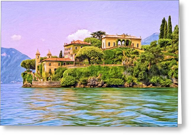 Villa on Lake Como Greeting Card by Dominic Piperata