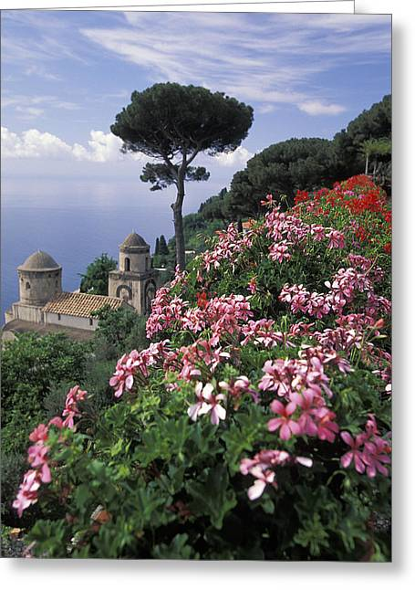 Red Buildings Greeting Cards - Villa Rufolo And Wagner Terrace Gardens Greeting Card by Richard Nowitz