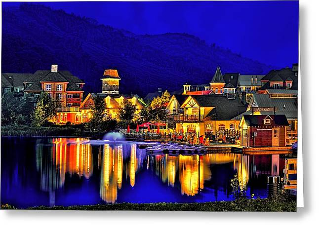 Beauty Mark Greeting Cards - Village at Blue Hour Greeting Card by Jeff S PhotoArt
