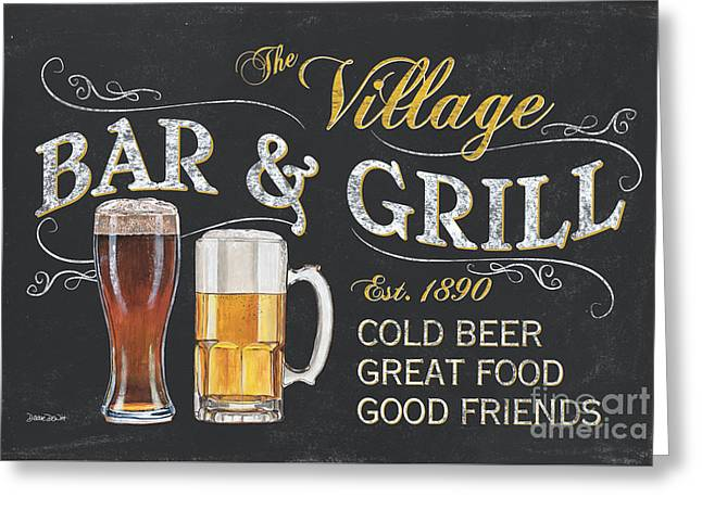 Grill Greeting Cards - Village Bar and Grill Greeting Card by Debbie DeWitt