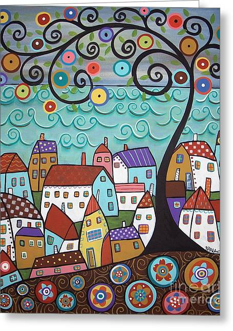 Tree Art Greeting Cards - Village By The Sea Greeting Card by Karla Gerard