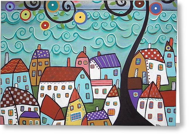 Village By The Sea Greeting Card by Karla Gerard