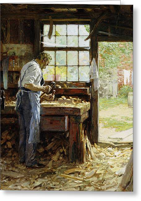 Saw Greeting Cards - Village Carpenter Greeting Card by Edward Henry Potthast