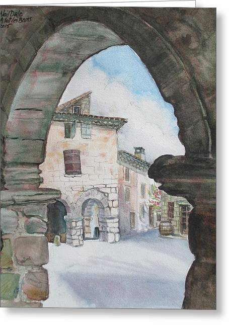 Languedoc Paintings Greeting Cards - village center Alet les Bains Greeting Card by Nelson Dale