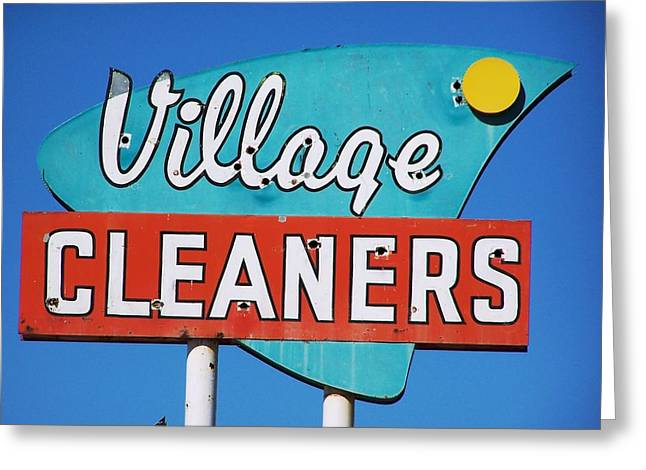 Roadside Art Greeting Cards - Village Cleaners Greeting Card by David Gianfredi