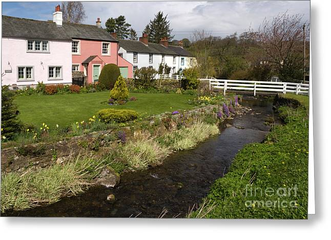 British Greeting Cards - VILLAGE COTTAGES english peak district village with colorful houses garden stream and bridge Greeting Card by Andy Smy