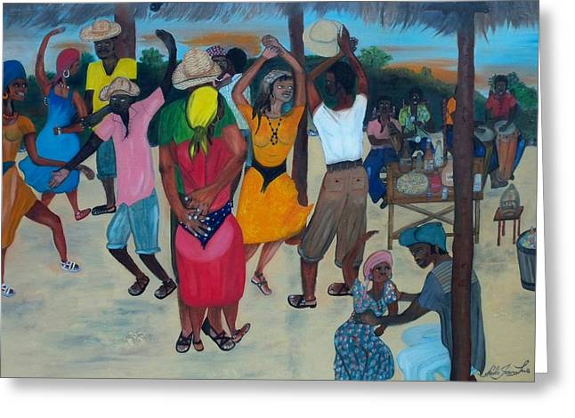 Table Wine Greeting Cards - Village Dance Under The Pergola Greeting Card by Nicole Jean-louis