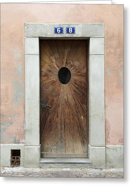 Swiss Photographs Greeting Cards - Village Door Surrounded by Peach Greeting Card by Colleen Williams