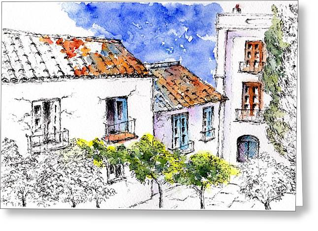 Andalucia Mixed Media Greeting Cards - Village Houses Greeting Card by Pam Taylor