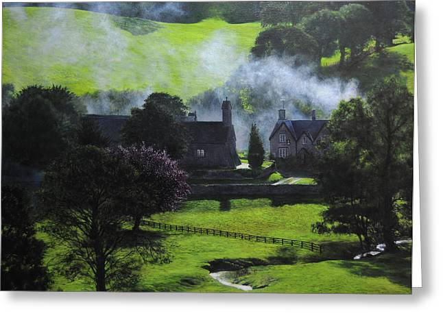 Village in North Wales Greeting Card by Harry Robertson