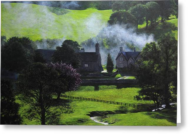 Naturalistic Paintings Greeting Cards - Village in North Wales Greeting Card by Harry Robertson