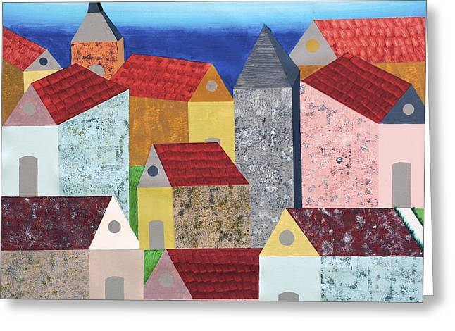 Colorful Village Greeting Cards - Village in tuscany Greeting Card by Sumit Mehndiratta