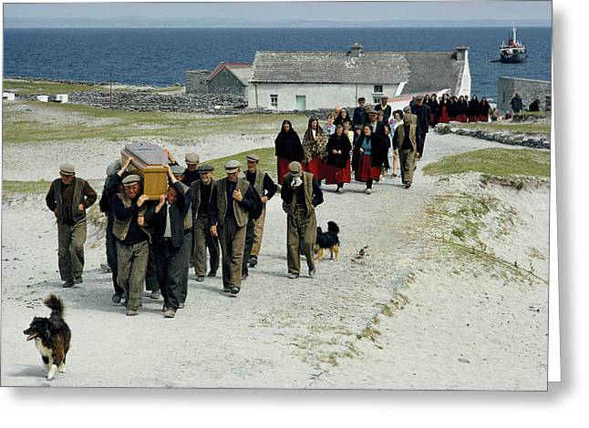 Aran Islands Greeting Cards - Village Men Carry A Coffin, Women Greeting Card by James A. Sugar
