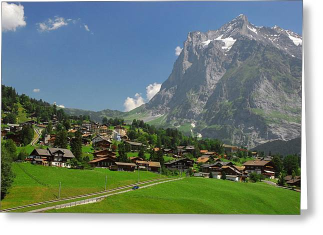 Village Of Grindelwald With Mount Greeting Card by Anne Keiser