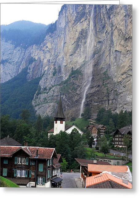 Staubach Greeting Cards - Village Of Lauterbrunnen With Staubach Greeting Card by Anne Keiser