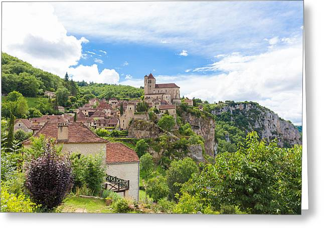 Collective Greeting Cards - Village of Saint Circ Lapopie in France in summer Greeting Card by Semmick Photo
