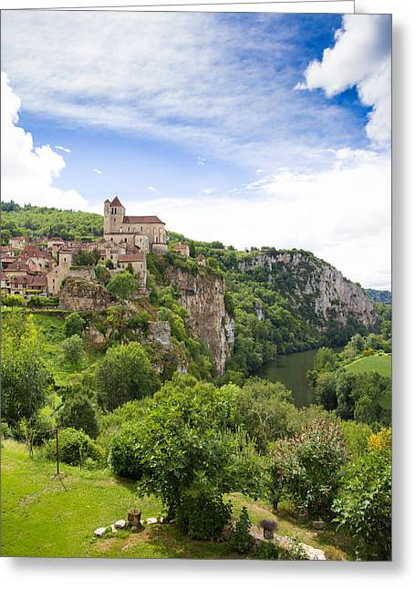 Collective Greeting Cards - Village of Saint Circ Lapopie in France on a summers day Greeting Card by Semmick Photo
