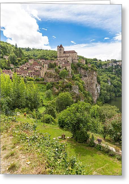 Collective Greeting Cards - Village of Saint Circ Lapopie in France on a sunny day Greeting Card by Semmick Photo