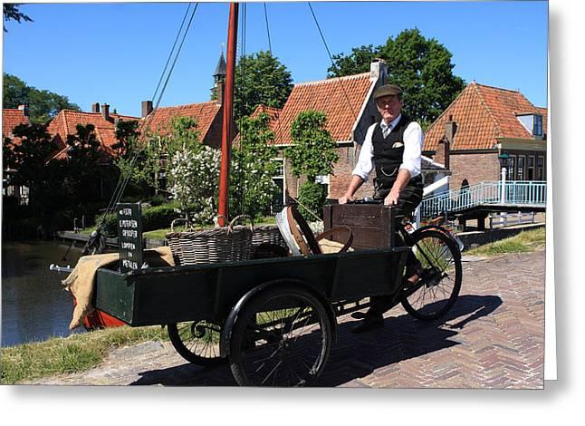 Go Cart Greeting Cards - Village Peddler Greeting Card by Aidan Moran