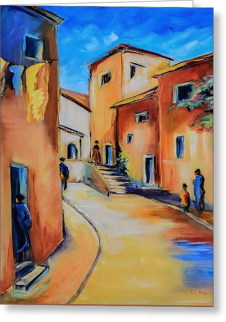 Italian Tuscan Greeting Cards - Village Street in Tuscany Greeting Card by Elise Palmigiani