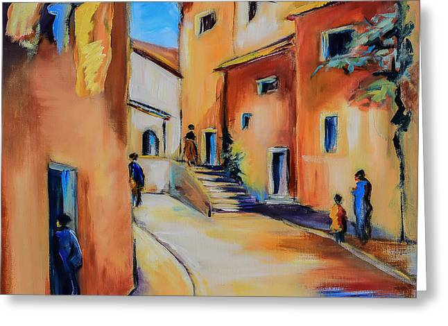 Fauvism Greeting Cards - Village Street in Tuscany Greeting Card by Elise Palmigiani