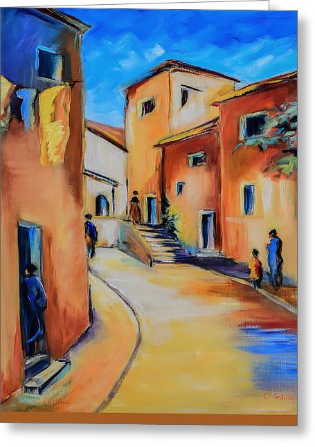 Mediterranean House Greeting Cards - Village Street in Tuscany Greeting Card by Elise Palmigiani