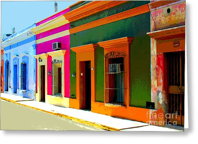 Portal Greeting Cards - Village Streetscape by Michael Fitzpatrick Greeting Card by Olden Mexico
