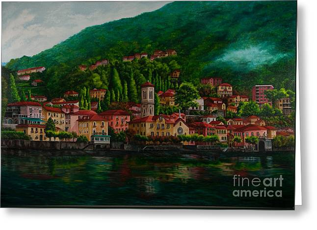 Lake Como Paintings Greeting Cards - Village View on Lake Como  Greeting Card by Charlotte Blanchard