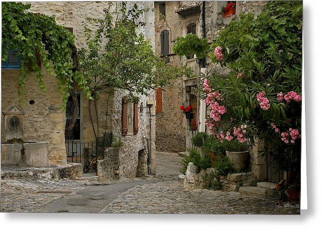 Provence Village Greeting Cards - Village Walk Greeting Card by Joe Bonita