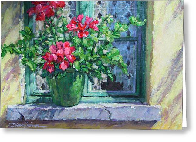 Sunlight On Pots Paintings Greeting Cards - Village Welcome Giverny France Greeting Card by L Diane Johnson