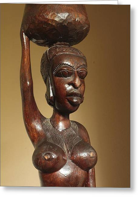 African Sculptures Greeting Cards - I am Jamilah I am Beautiful Greeting Card by Shaakira Edison
