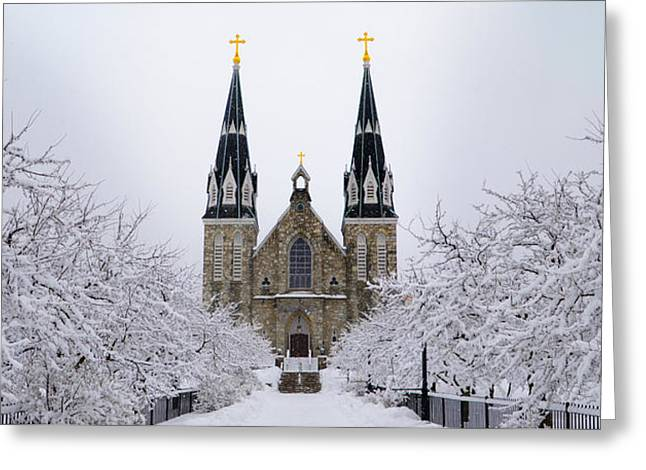 Greeting Cards - Villanova University after Snow Fall Greeting Card by Bill Cannon