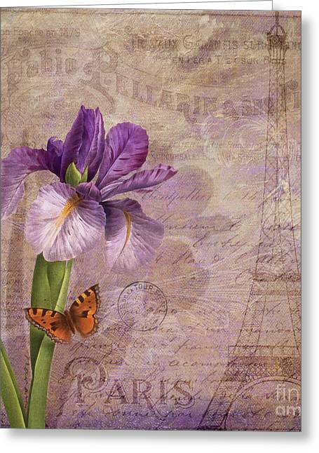 Ville De Paris French Flowers Garden Art Vintage Style  Greeting Card by Tina Lavoie