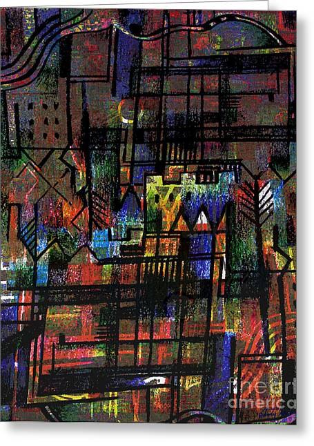 Chateau Drawings Greeting Cards - Ville Francaise Greeting Card by Andy  Mercer