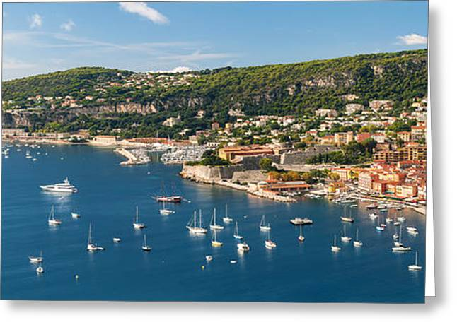 Azur Greeting Cards - Villefranche-sur-Mer and Cap de Nice on French Riviera Greeting Card by Elena Elisseeva