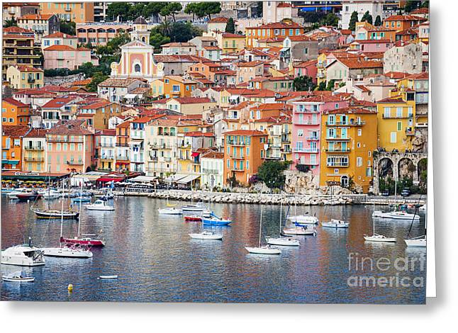 Azur Greeting Cards - Villefranche-sur-Mer view in French Riviera Greeting Card by Elena Elisseeva