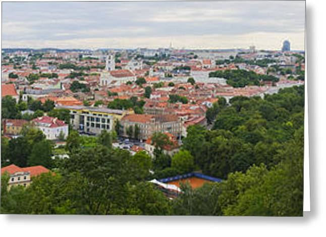 Lithuania Greeting Cards - Vilnius Panorama from the Hill of Three Crosses Greeting Card by RicardMN Photography