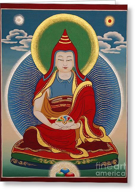 Thangka Greeting Cards - Vimalamitra Vidyadhara Greeting Card by Sergey Noskov