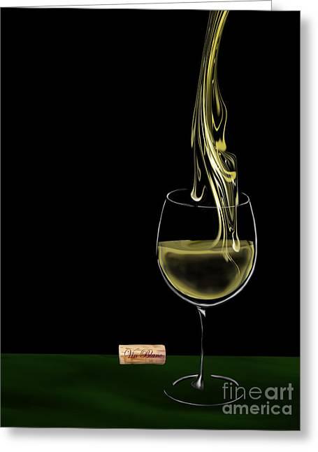 Wine Flowing Greeting Cards - Vin Blanc - White Wine 2 Greeting Card by Kathryn L Novak