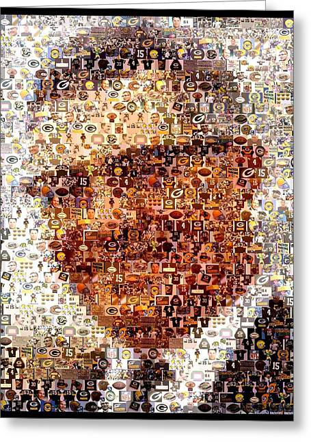Vince Greeting Cards - Vince Lombardi Green Bay Packers Mosaic Greeting Card by Paul Van Scott