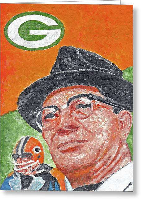 Vince Paintings Greeting Cards - Vince Lombardi Greeting Card by William Bowers