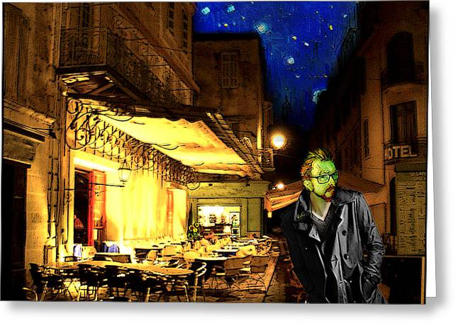 Night Cafe Drawings Greeting Cards - Vincent at the Cafe at Night Greeting Card by Jose A Gonzalez Jr