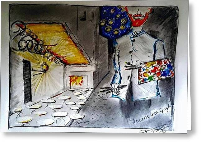 Night Cafe Drawings Greeting Cards - Vincent at the Night Cafe Greeting Card by Jose A Gonzalez Jr