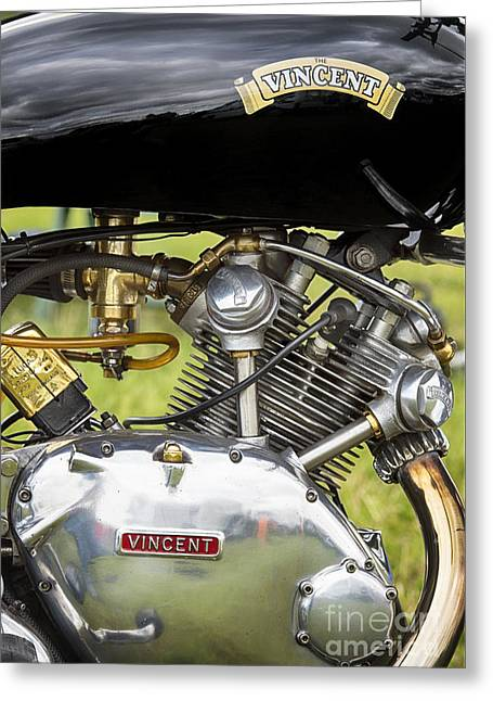 Polish Culture Greeting Cards - Vincent Comet Motorcycle Engine Greeting Card by Tim Gainey