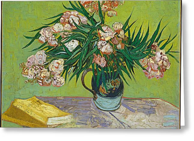 Van Gogh Greeting Cards - Vincent Van Gogh - Oleanders  Greeting Card by Bishopston Fine Art
